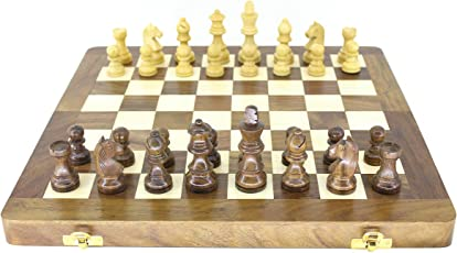 "VA Antiques Wooden Folding Chess Board (Magnetic) Made of Sheesham Wood (10"" X 10"" Inch)"