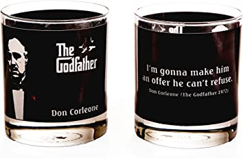 Ek Do Dhai Godfather Whisky Glass Set, 2-Pieces, 300ml, Black