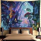 Tapisserie murale à suspendre InTDORM - Motif trippy forêt - Motif champignons et village - Monde magique - Tapisserie psyché