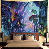 INTDORM Trippy Forest Tapestry Wall Hanging Mushroom Village Tapestry Magical World Tapestry Psychedelic Tapestry Hippie…