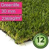 Kunstrasen Rasenteppich Greenlife für Garten - Florhöhe 30 mm - Gewicht ca. 2369 g/m² - UV-Garantie 12 Jahre (DIN 53387) - 2,00 m x 1,00 m | Rollrasen | Kunststoffrasen