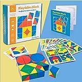 Czemo Puzzle en Bois Cube Bloc de Construction, Géométrique Forme de Manipulation Puzzle Jeux Montessori Jouet Éducatif pour