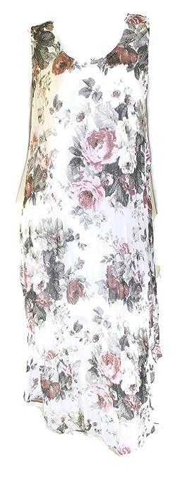 Shoppen Sie #4264 Damen Kleid Sommerkleid Midi Rosen Design Maxikleid 36 38  40 Onesize (Onesize, Beige) auf Amazon.de:Kleider