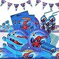 HASAKA Lot de 82 accessoires de table pour fête d'anniversaire Motif super-héros Assiettes, gobelets, pailles, cuillères, fou