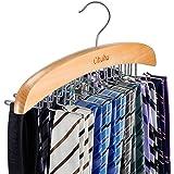 Ohuhu Tie Rack, Wooden Tie Organizer, 24 Tie Hanger Hook Storage Rack, Closet Accessory Organizer, Twirl Neck Tie Rack Holder