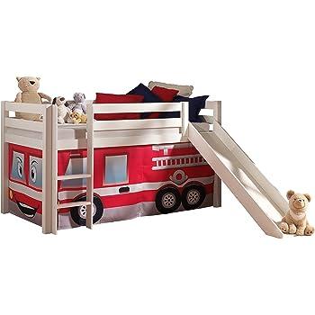 Vipack PICOHSGB1470 Spielbett Pino mit Rutsche und Textilset Feuerwehr, Maße 210 x 114 x 218 cm, Liegefläche 90 x 200 cm, Kiefer massiv weiß lackiert