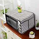 PrettyKrafts A1117 Microwave Oven Top Cover, Microwave Cover with Pockets Free Size, with 4 Utility Pockets, Waves Black
