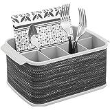 mDesign range couverts avec poignées – boîte de rangement décorative pour cuisine, salle à manger, jardin ou pique-nique – po