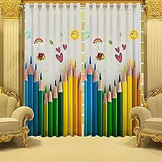 B7 CREATIONS Digital Printed Pencil Multicolour Whiteout Eyelet Window Curtain, 4x5 Feet