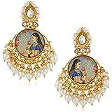 Shayza Jewellery Traditional Gold Plated Kundan Golden Jhumkas Jhumki Earrings for Women