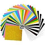 Vinyle de transfert de chaleur, Ohuhu 36 Paquet de Feuilles Fer sur Vinyle, Comprend 20 Couleurs Assorties + 5 Couleurs Glitt