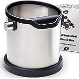 Knock box, Poubelle de table à café en Inox, Récipient de récupération à marc de café, avec contour en silicone et en caoutch