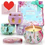 SCENTORINI Scented Candles Gift Set, 4X4.4oz, Peony, Cinnamon Apple, Lavender and Rose, Natural Soy Wax, Portable Travel Tin Handmade Aromatherapy Floral Candle