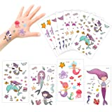 Konsait 175 Tatuajes temporales Sirena para niños niñas favores de Fiesta Infantiles cumpleaños Regalos piñata Juguetes de Fi