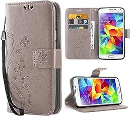 Cover Galaxy S5, Retro Farfalla Fiore Modello Stampata Design Con Cinturino da Polso Custodia in pelle Protettiva Cuoio Portafoglio Flip Cover per Samsung Galaxy S5/NEO Grigio