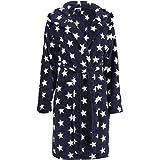 Brandsseller Albornoz para Mujer con Capucha Bata de baño para Ducha,Playa y Baño - Estrellas - Color: Gris/Blanco - tamaño: