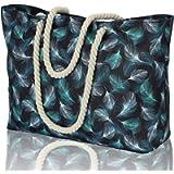 KUAK Extra Large Beach Bag, 100% Waterproof Beach Bag for Women with Zip, Inside Pockets, Rope Handles. Printed Shoulder…