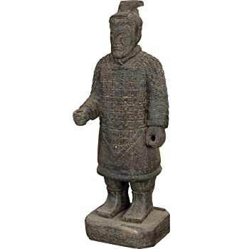 Steinfigur Samurai Krieger Soldat Schwertk/ämpfer W/ächter Steinguss Gartenfigur