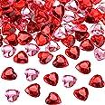 Corazón de Acrílico Rojo/Rosa para Día de San Valentín, Decoración de Dispersión de Mesa Corazones de Boda, Diamantes de Imit