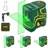 Niveau Laser, USB Charge, 45m Laser Croix Vert POPOMAN, Autonivellement et Mode Pulsé Extérieur, Deux Module Laser, Support M
