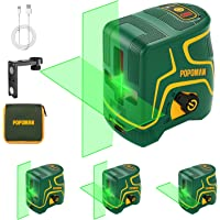 Niveau Laser, USB Charge, 45m Laser Croix Vert POPOMAN, Autonivellement et Mode Pulsé Extérieur, Deux Module Laser…
