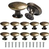 TsunNee 12 stuks vintage kastknoppen, chique ladeknoppen, antiek messing keukenkastgrepen, 30 mm ronde meubeldeurknoppen, bro