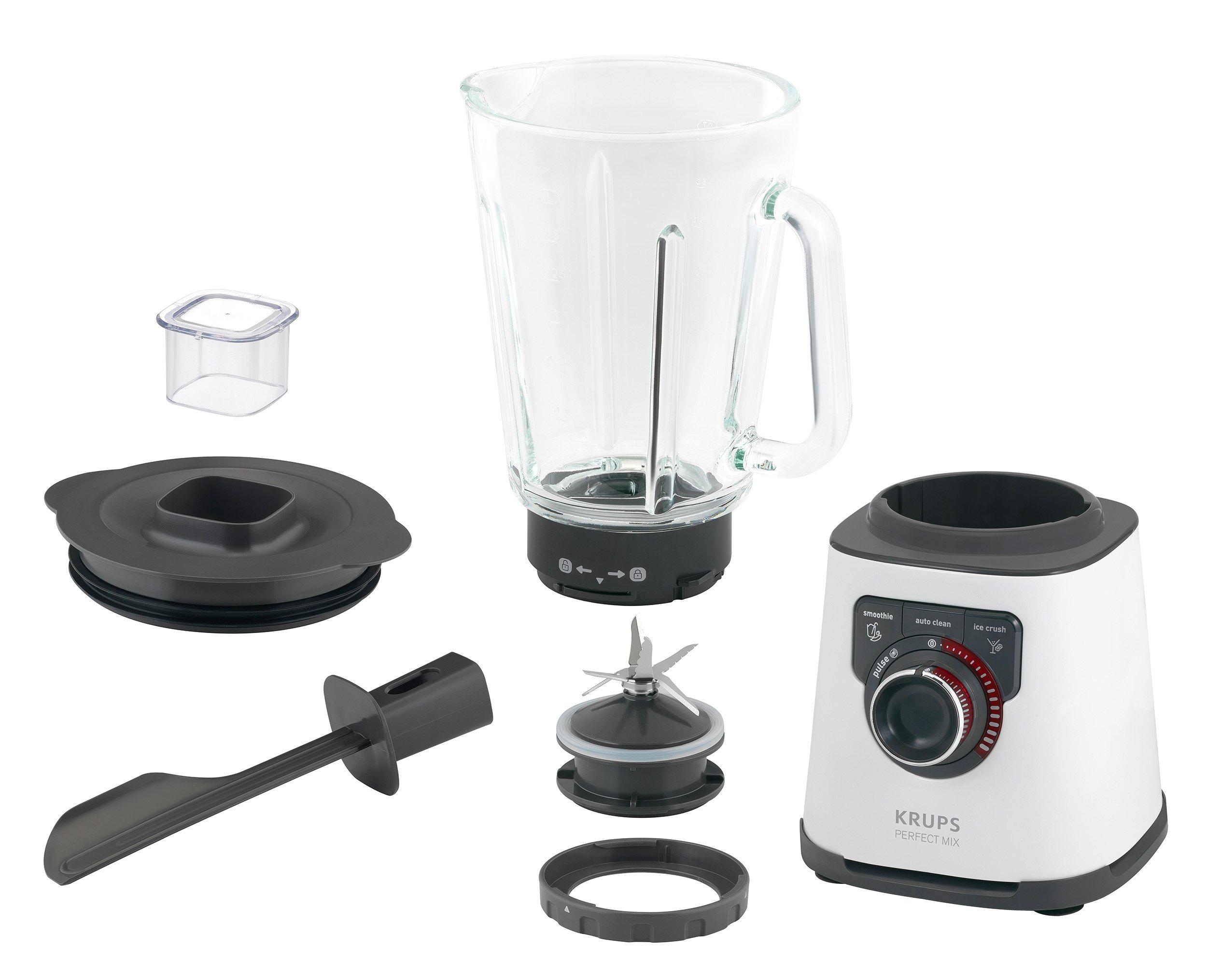 Krups-KB4031-Perfect-Mix-Highspeed-Standmixer-1200-Watt-15-Liter-Glasbehlter-Edelstahlmesser-Edelstahlschwarz