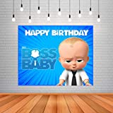 WoW Party Studio Boss Baby Theme, Happy Birthday Decorations Party Background / Backdrop Banner - 4ft x 5ft, Multicolor