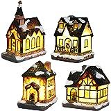 Kerstdorp met verlichting, kerstlantaarn led, kerstdecoratie, Amerikaanse lichtketting, Kerstmis, knutselen, werkt op batteri