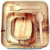 VIK Palm Leaf Plates - Export Quality - Disposable Plates - Square Plates 9 Inch (15) - Square Plates 6 Inch (15…