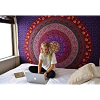 Textile artMandala Blue Tapestry Hippie Bohemian Pink Bedspread Indian Psychedelic Purple Single Cotton Bedsheet Decorative Bed Cover