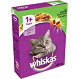 Whiskas 1+ Cat Complete Dry Cat Food for Adult Cats with Lamb, 5 bags (5 x 825 g)