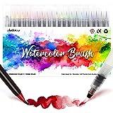 Amteker Feutre Coloriage 24 + 1 Stylo Aquarelle - Aquarelle Peinture, Feutre Aquarelle Brush Pen Feutre Pinceaux pour Coloria