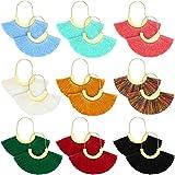 9 Pairs Bohemian Tassel Earrings Semi Circle Tassel Earrings Fan Shaped Fringe Hoop Earrings for Women Girl Favors