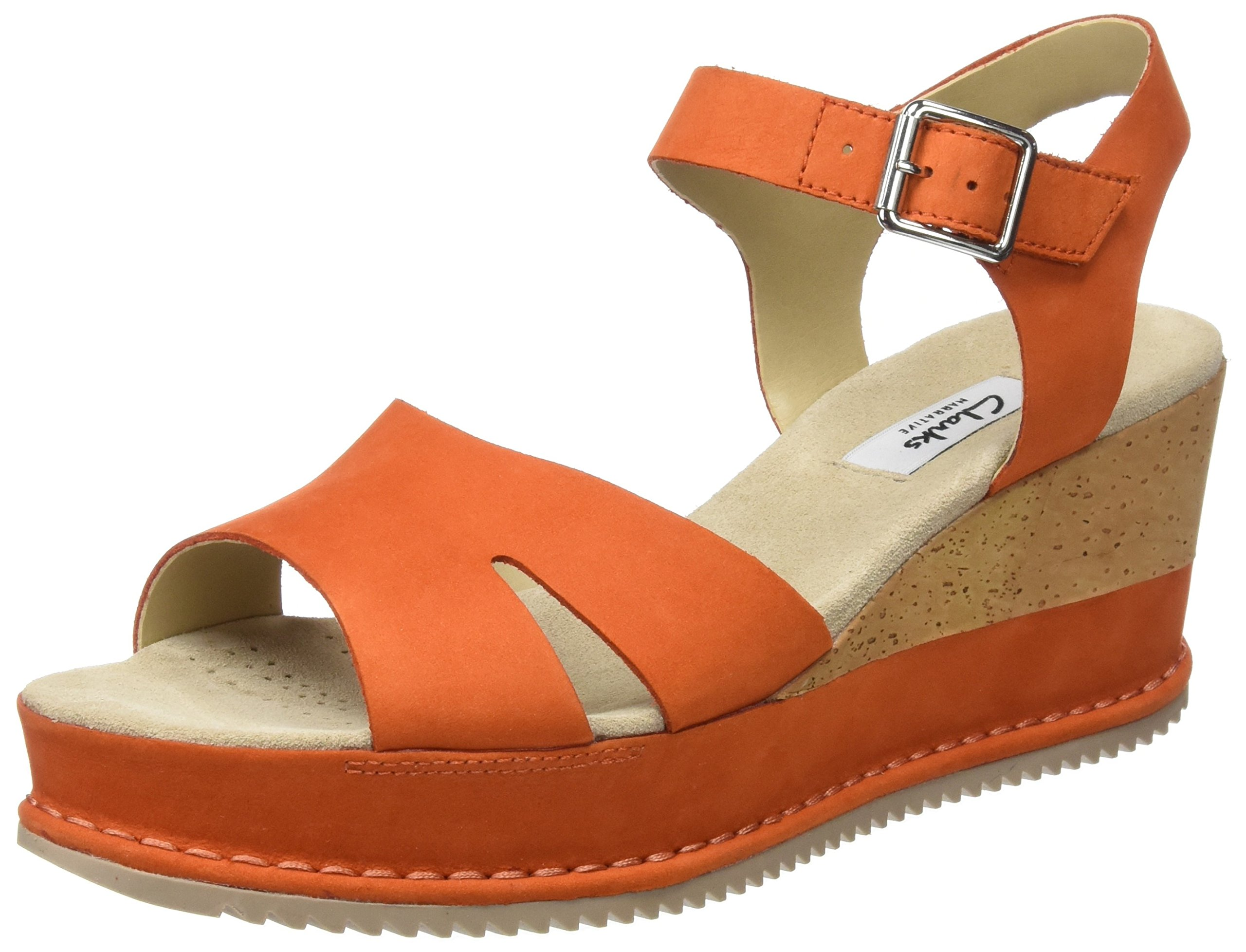 Clarks Women's Akilah Eden Nubuck Leather Fashion Sandals