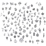BIHRTC Pack of 100 Antique Silver Mixed Charms Pendants DIY Handmade Accessories for Crafting,Bracelet Necklace Jewelry Findi