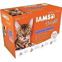 Iams Delights - Multipack, Alimento Umido per Gatti Adulti, Gusti assortiti Sapori di Terra e Mare in gelatina - 12…