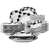 Veweet NICOLE 48pcs Service de Table Pocelaine 12pcs Assiettes Plates 24,6cm, Assiette Creuse 21,5cm, Assiette à Dessert…