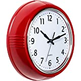 Bernhard Products Retro Wall Clock 9.5 Inch Red Kitchen 50's Vintage Design Round Silent Non Ticking Battery Operated Quality