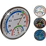 O&W Security Termómetro con higrómetro analógico analógico de temperatura y humedad para interior y exterior, 24 x 5,5 cm, in