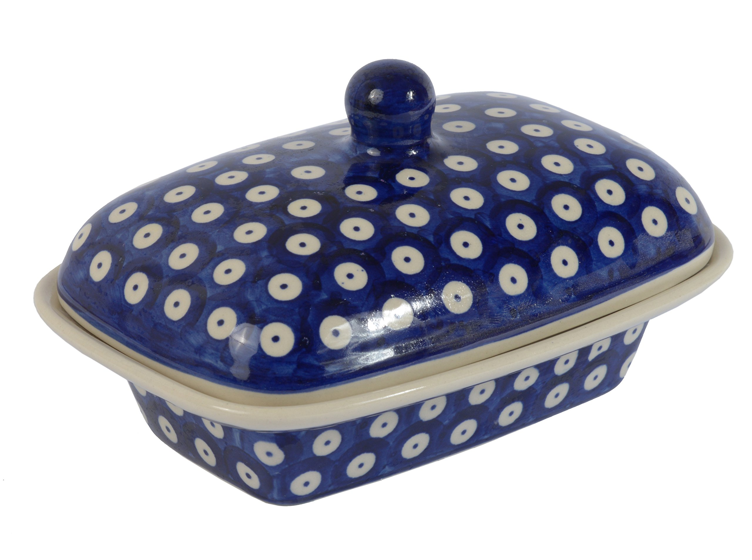 BCV Classic Boleslawiec, Polish Pottery Hand Painted Stoneware, Ceramic Butter Dish with lid 066 (T-001)