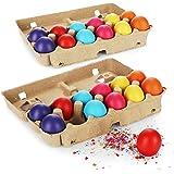 com-four® 24 Huevos de Pascua con Confeti - Huevos de Confeti de Colores para Pascua - Confeti en Huevos de gallina Reales y