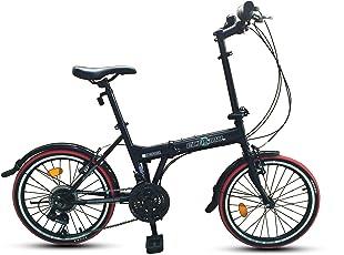Ecosmo 20F03BL City Fahrrad 21 Gänge 20 Zoll (51 cm) zusammenklappbar