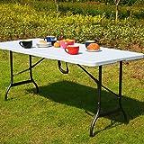 Monzana Table pliable en plastique Blanc 76x 182cm PARTY Buffet table pliante