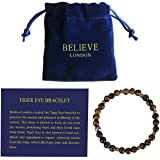 Believe London Tiger Eye Bracelet with Jewelry Bag & Meaning Card | Strong Elastic | Precious Natural Stones Crystal Healing