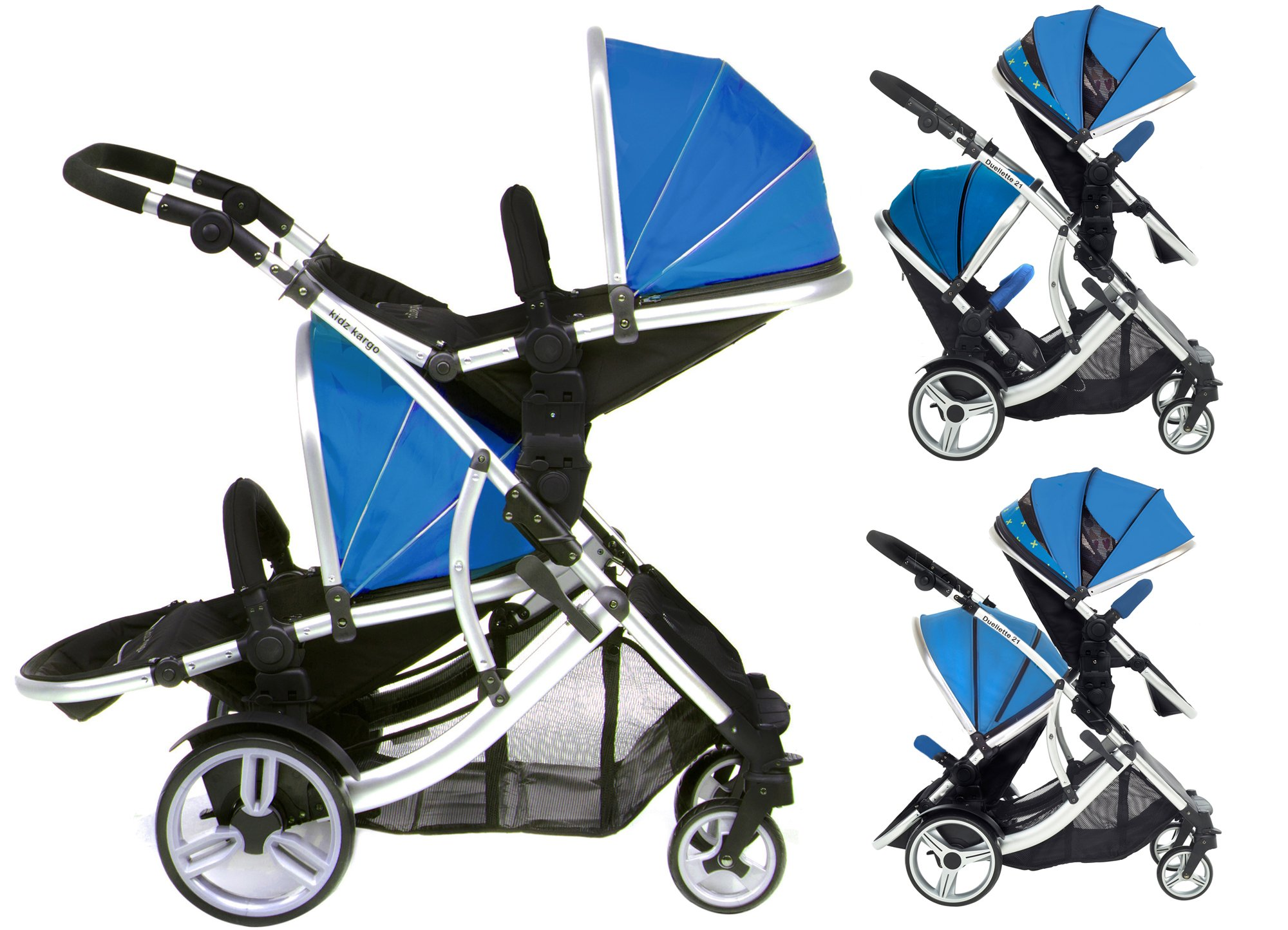DUELLETTE 21 BS Twin Double Pushchair Tandem Stroller buggy 2 seat units, compatible with Kids Kargo safety Pod Car seat OR maxi cosi clips or Britax Baby safety Car seat. (sold separately) 2 Free Teal footmuffs 2 Free rain covers Black /Teal Silver chassis Ideal for Twins or Baby Toddler by Kids Kargo Kids Kargo Demo video please see link http://youtu.be/Ngj0yD3TMSM Various seat positions. Both seats can face mum (ideal for twins) Suitability Twins (Newborn Twins if used with car seats). Accommodates 1 or 2 car seats 1