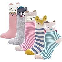LOFIR Calzini Divertenti in Cotone per Bambina Calzini con Animali, Calze Glitter Bambina Calze Antiscivolo, Taglia 20…