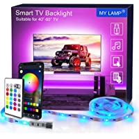 LED TV Backlights APP, 2.5M USB Led Strip Lights with Remote for 40-60 Inch RGB 5050 APP Control Sync to Music Bias Lighting TV Led Lights for TV, Bedroom, Party and Home Decoration
