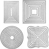 Scrapbooking Dies, 4 Ensembles Dies de Decoupe Scrapbooking 4 Formes Cercle Carré Rectangulaire Matrices De Découpe En Acier