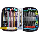 49 pièces Aluminium kit tricot pour le crochet - outils à tricoter avec étui en cuir